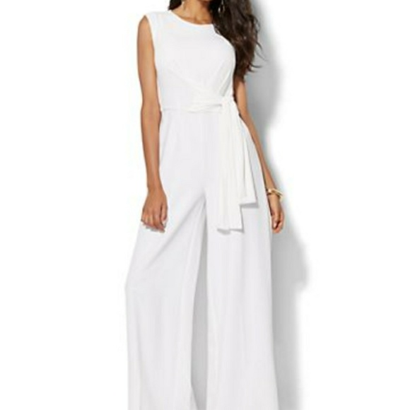 New York And Company Pants Sold White Belted Jumpsuit L Poshmark
